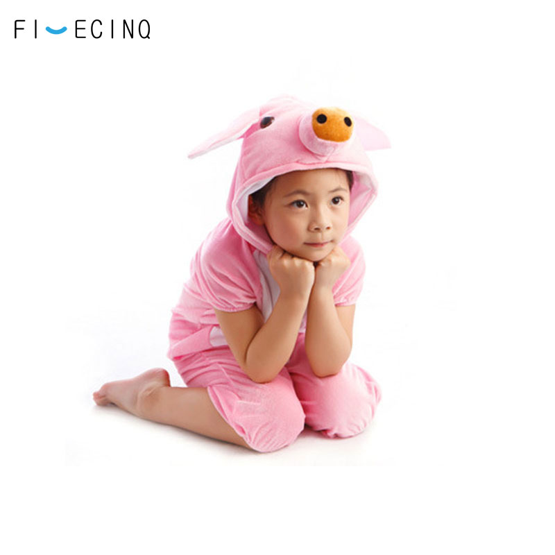 Home Boys Girls Animal Pajama Halloween White Pig Costume Kids Size 110cm To 130cm Festival Party Wear Short Sleeve Holiday Cute Suit