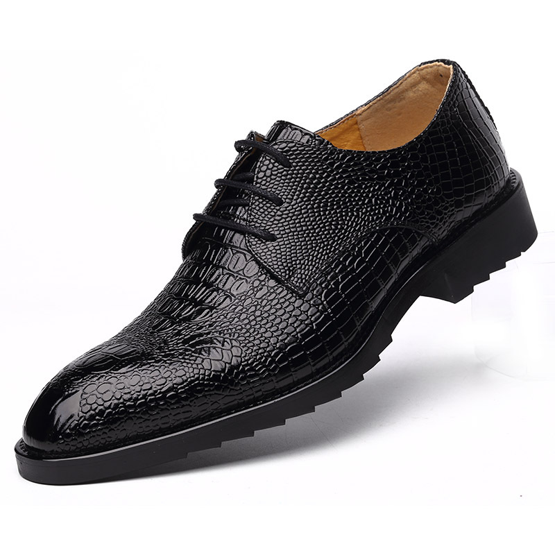 2018 New Crocodile Genuine busnissmen shoes lace up fashion solid fashion shoes man pointed Toe cow leather men dress shoes new 2018 fashion men dress shoes black cow leather pointed toe male oxfords business shoes lace up men formal shoes yj b0034