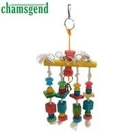 Bird Toy Parrot Pet Bird Macaw Hanging Chew Toy Bells Wood Blocks Swing Colorful U7112