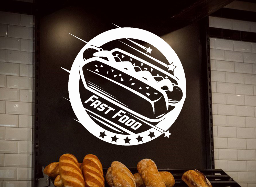Us 7 98 25 Off Fast Food Logo Wall Decal Cafe Hot Dog Shop Wall Window Decor Vinyl Sticker Removable Modern Poster Wallpaper D623 In Wall Stickers