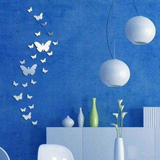 30pcs diy 3d silver acrylic butterfly wall stickers decoration on