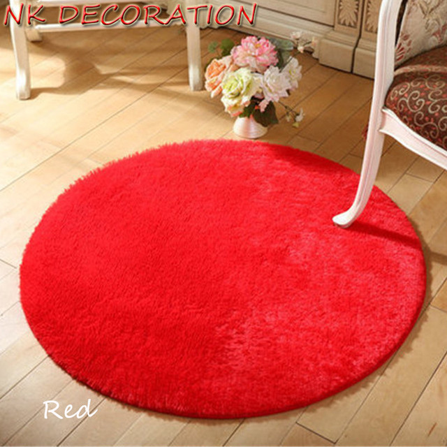 NK DECORATION Approx 100cm Red Rug Plush Shaggy Soft Round Big ...