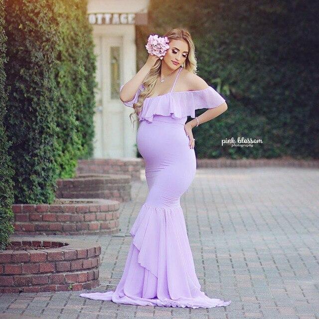 e2b7589a2944 Maternidad fotografía Props Fishtail vestidos de maternidad para sesión  fotos vestido embarazo mujeres embarazadas