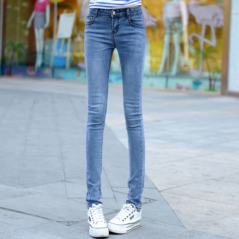 2017 new spring and summer Mid waist Slim stretch jeans pencil pants long Denim pants thin Blue Fittness Women Jeans Z2229