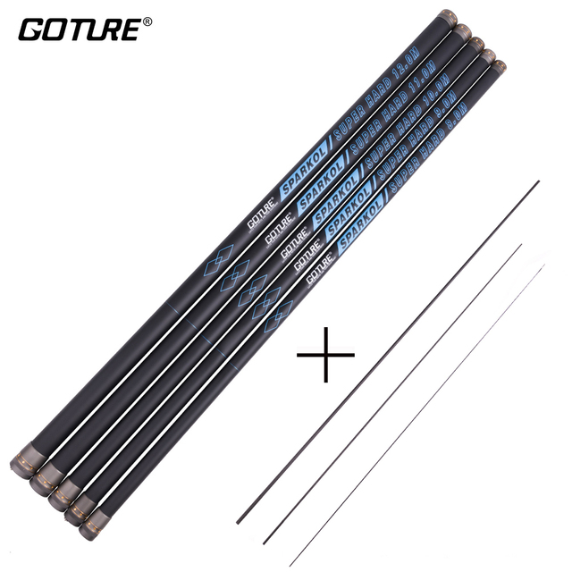 Goture SPARKOL Super Hard High Carbon Fiber Fishing Rod 8-12M Telescopic Fishing Rod Taiwan Rods with 360 Degree Rotation Tips