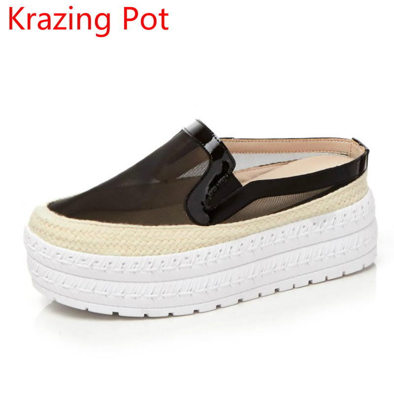New Arrival Genuine Leather Air Mesh Increased Platform Loafers Leisure Breathable Round Toe Slip on Vulcanized Slippers L83 весёлые животные развивающее домино clever