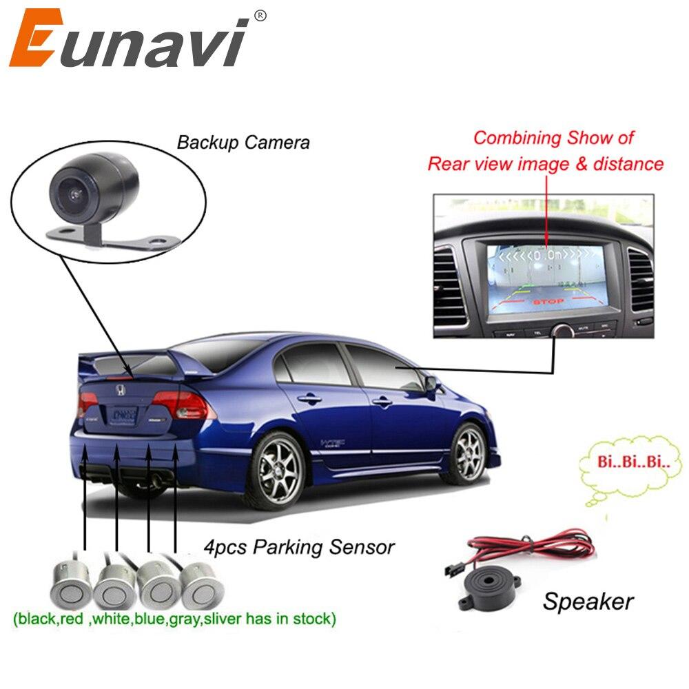 Eunavi двухъядерный Процессор автомобиль видео парковка Сенсор видимая обратная Резервное копирование радар сигнализация, дисплей изображения и звука оповещения для авто Мониторы