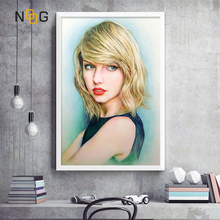 NOOG Taylor Swift Hand-Painted Poster Pop Wall Art Super Star Canvas Painting Posters And Prints Living Room Decoration Picture