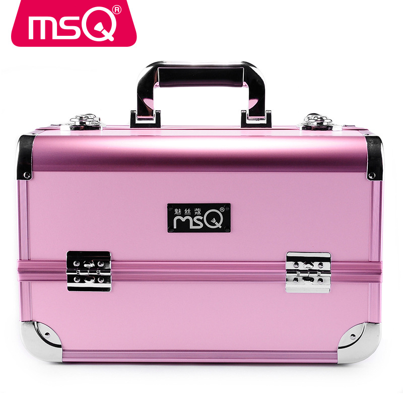 MSQ Beauty Case Professional Makeup Suitcase  Makeup Box Aluminum Alloy Corde Wire Charm Cosmetic Box Multi Tattoo Laptop