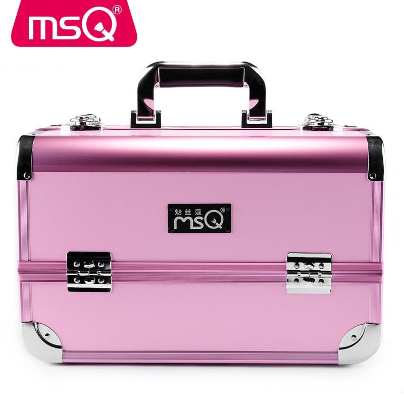 MSQ Beauty Case Professional Makeup Suitcase  Makeup Box Aluminum Alloy Corde Wire Charm Cosmetic Box Multi Tattoo Laptop travel aluminum blue dji mavic pro storage bag case box suitcase for drone battery remote controller accessories
