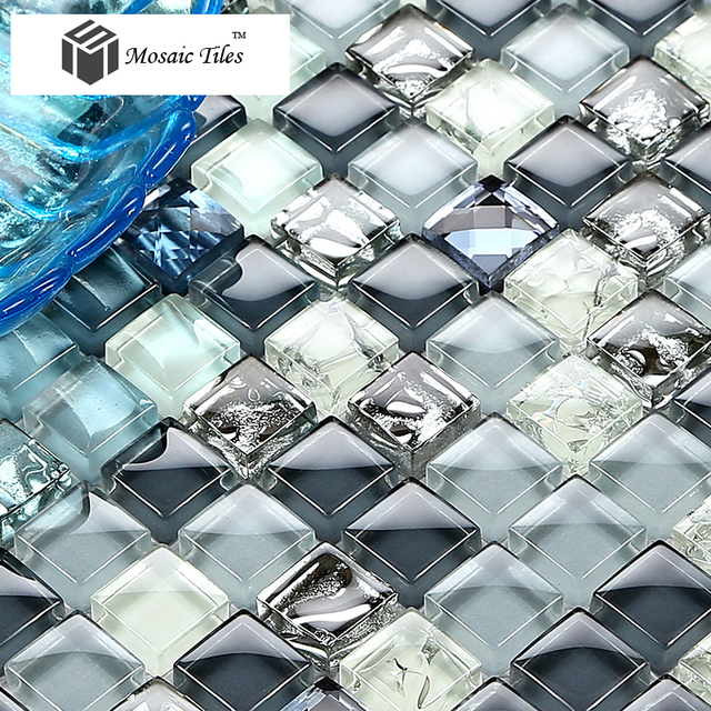 tst crystal glass tile blue silver mosaic diamond kitchen hotel background design art discount glass tile