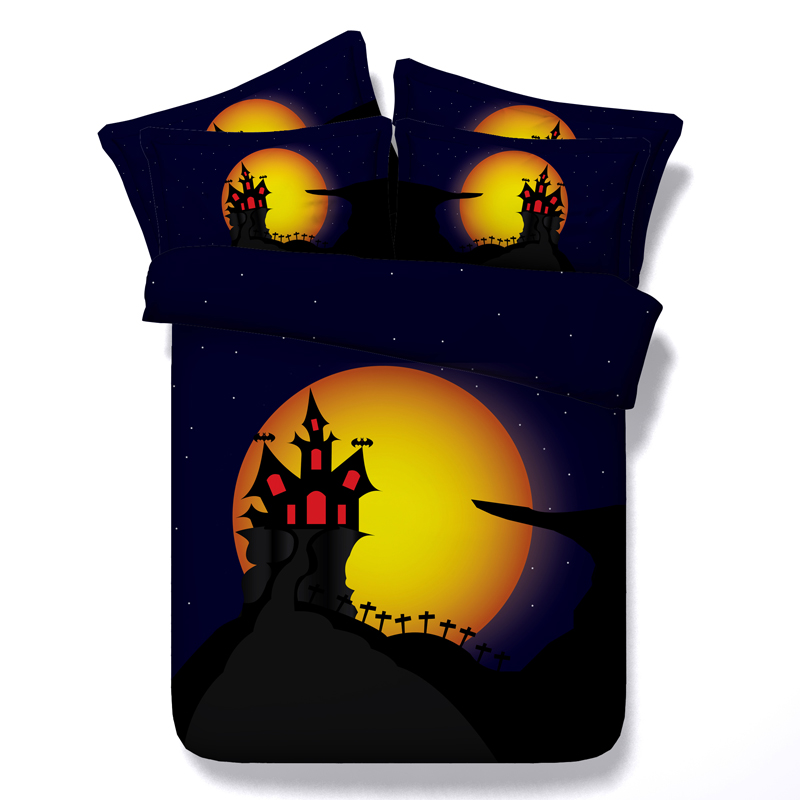 Halloween Castle Bat 3D Printed Comforter Bedding Twin Full Queen Super Cal King Size Bed Sheets Duvet Covers Sets Children Home