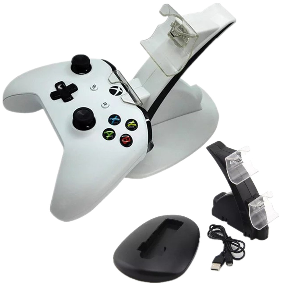 LED 2 Dock Charging Station Stand For Xbox One S Game Console Gamepad Gaming Controller White Black Charger with USB Cable  DC5V