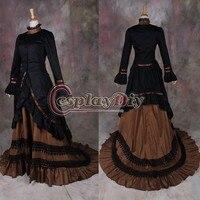 Индивидуальные черный и коричневый цвета средневековый готический викторианской rnaissance костюм для взрослых Для женщин Косплэй костюм D1127