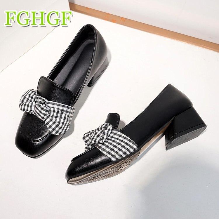 Fille Confortl Jeune 2018 Femmes Collège Rond Chaussures En Cuir Britannique Arc noir Style Casual Nouveau Beige Oxford qwwOCxTI