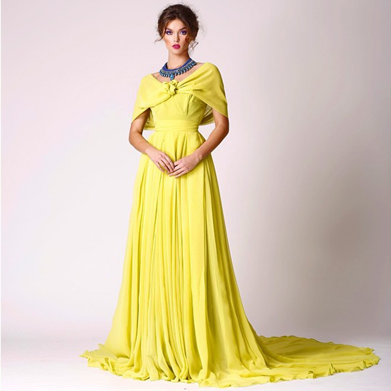 Chic Sexy Yellow Evening Dress With Shawl Backless Long Train Prom