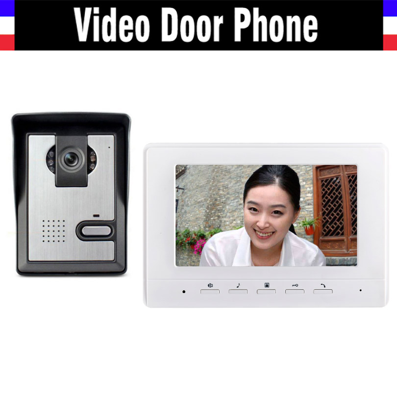 7 inch color lcd video door phone intercom doorbell System video interphone Kit for Villa home 1 monitor  1 Door Camera freeship 10 door intercom security system hands free monitor color tft lcd screen intercom system video door phone for villa