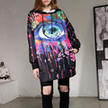 [soonyour] 2017 Spring High Quantity DIY Painted Colorful Eyes Design Women Large Size Long Hoodies Fashion Sweatshirt  B04901