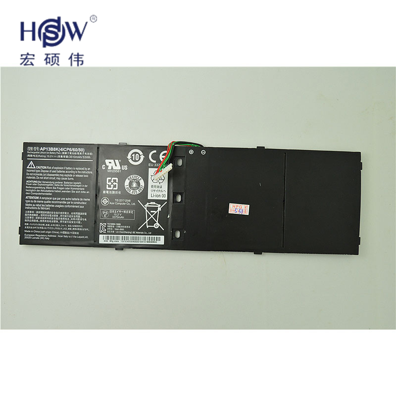 HSW 15.2V 53Wh 3510mAh AP13B8K Battery For Acer Aspire V5 M5-583P V5-572P V5-572G Notebook 4ICP6/60/78 Bateria 14 touch glass screen digitizer lcd panel display assembly panel for acer aspire v5 471 v5 471p v5 471pg v5 431p v5 431pg
