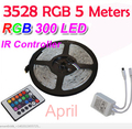 RGB Warm Cool White Red Green Blue Yellow Flexible 3528 Waterproof LED Strip Lighs 300LEDs 60LEDs/M bande LED diode tape