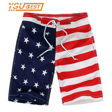 7-14yrs Board Shorts New 2018 Beach Shorts For Boys Surf Board Short Custom Swim Trunks Pentagram Kids Sport Wear American Flag(China)