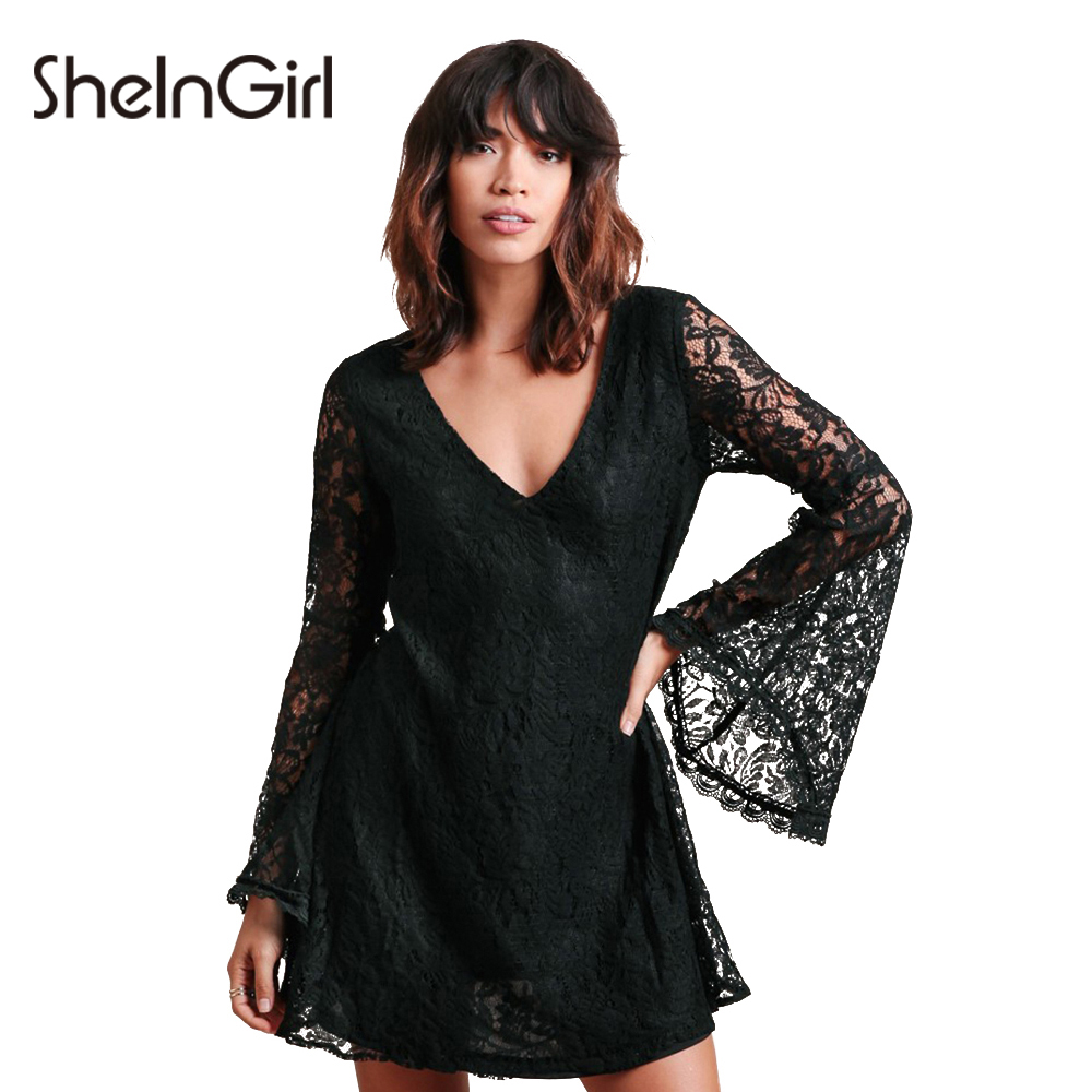 SheInGirl 2017 Spring Sexy Lace Dress Women vintage Black Wrap Dress female hollow out Casual mini