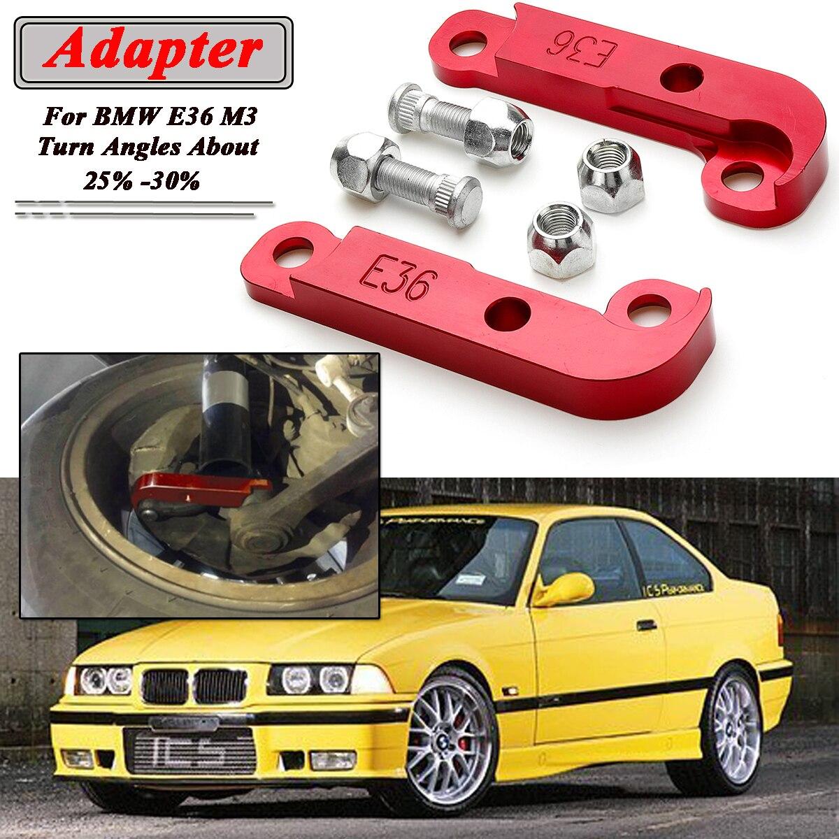 2x Rouge/Noir Adaptateur L'augmentation de Turn Angle Environ 25%-30% Dérive Serrure Kit Pour BMW E36 M3 Tuning dérive Adaptateurs et De Montage