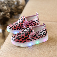 new children's shoes leopard casual shoes men and women fashion cute led lights color casual shoes wan01