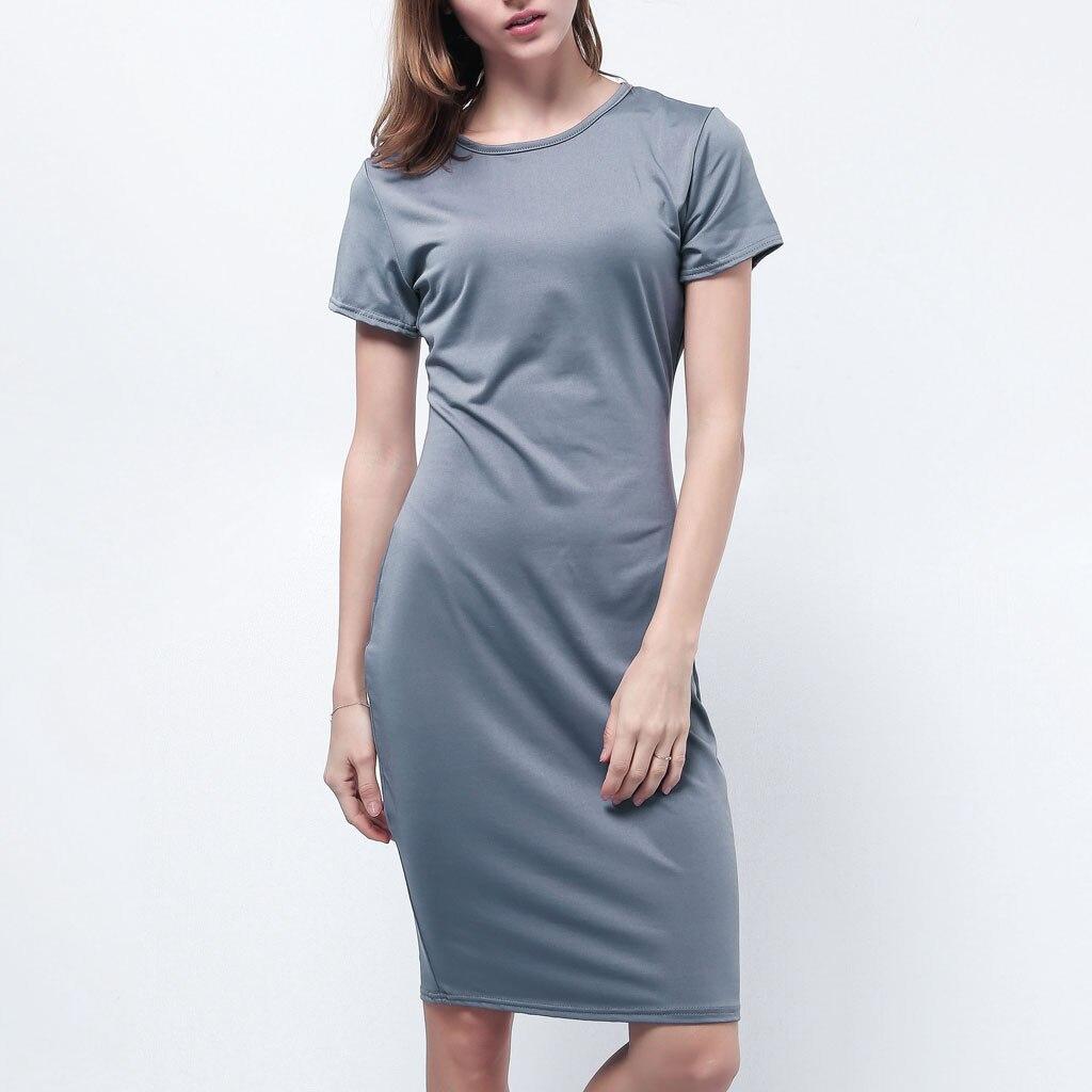 2019 модное летнее тонкое Облегающее Платье облегающее платье женская с короткими рукавами Повседневное вечернее платье Vestido de festa