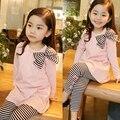 Outono inverno bebê conjunto roupa da menina de manga comprida t-shirt arco top + calças tira com pequeno arco criança meninas roupas ternos outfits