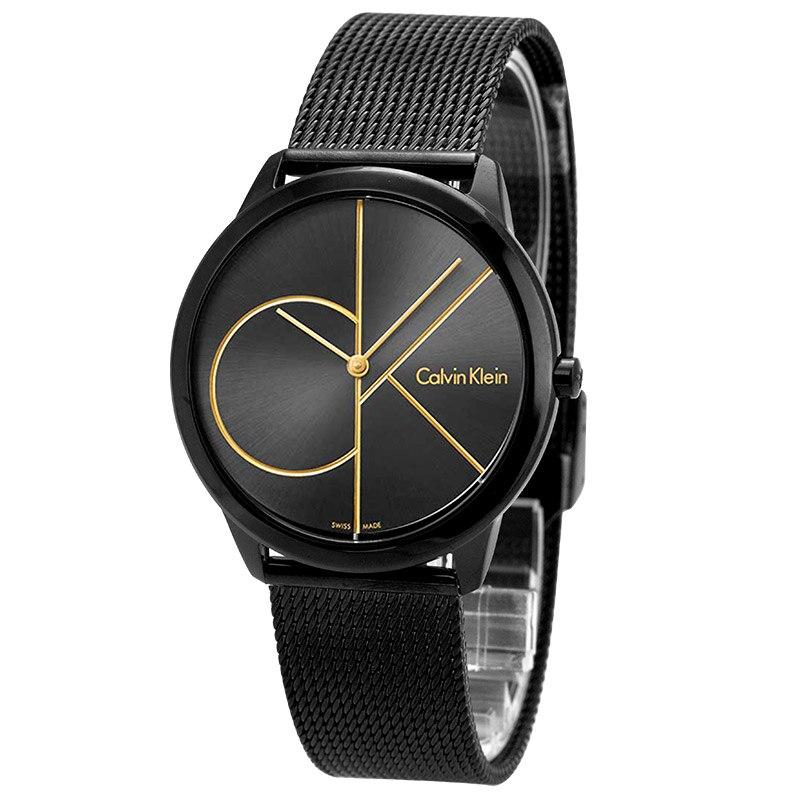 CalvinKlein reloj nuevo negro tejido casual insignia par cuarzo de los hombres y mujeres reloj K3M214X1