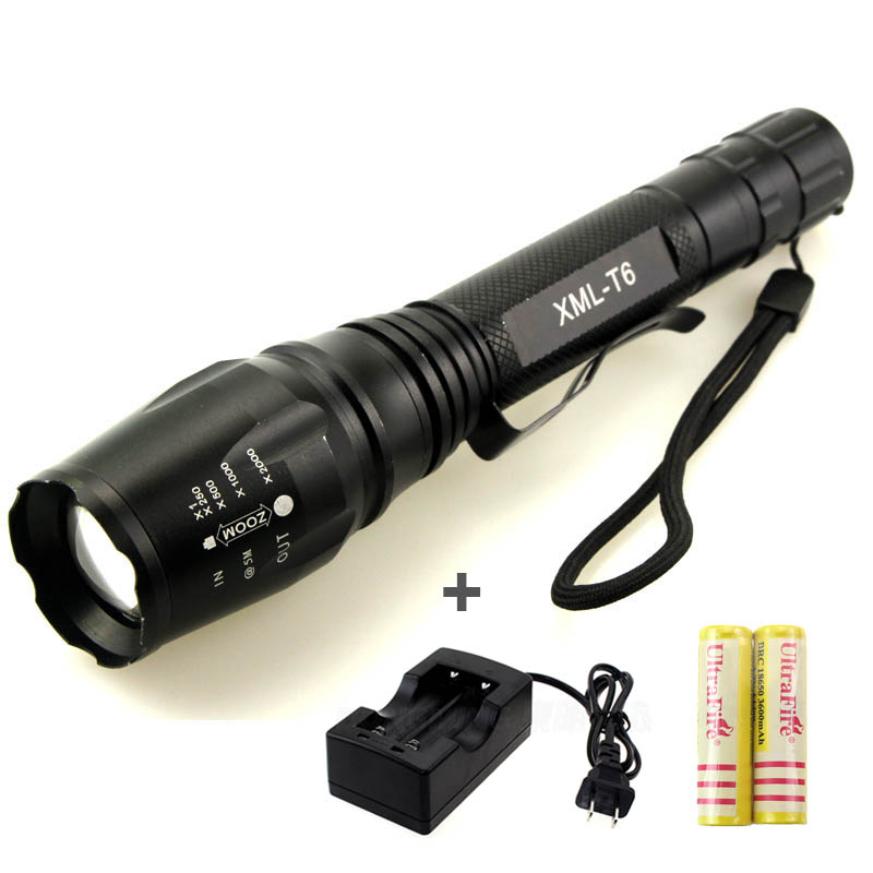 High lumen LED Flashlight 4.2V CREE XML-T6 2*18650 Battery 5 Modes Focalize Flash Lamp +2*18650 batteries + battery charger