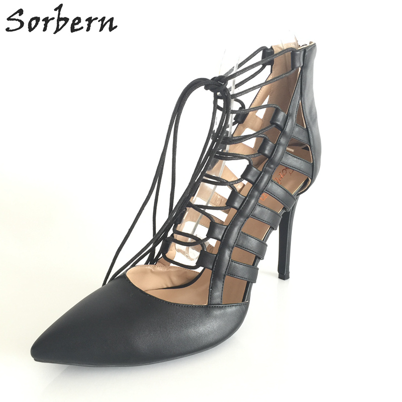 Women Sorbern Ladies Pumps Lace Up Plus Size Pointed Toe Pump Chaussure Femme Fashion Ladies Shoes Cheap New 2017 Pumps 2016 red womens pumps chaussure femme cheap shoes for women real image fashion custom made ladies party evening shoes hot