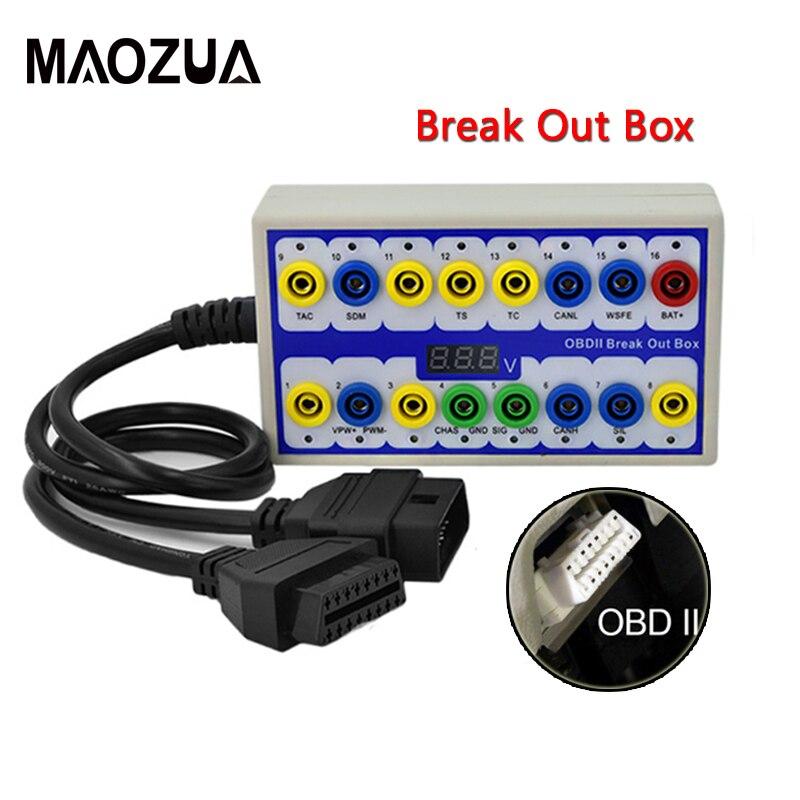 Profissional carro automático obd 2 quebrar caixa obd2 breakout caixa obd obdii detector de protocolo diagnóstico conector detector
