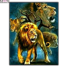 5D DIY Diamond Embroidery Lion Family Looking For Food Painting Cross Stitch Full Square Mosaic Decoration Gifts