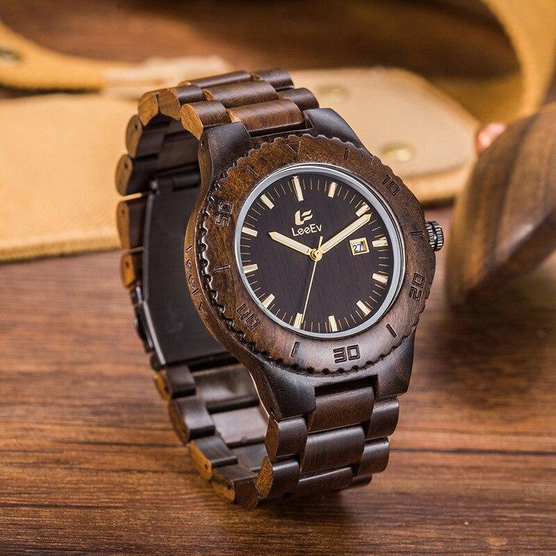 LEEEV Luxury Brand Men's Wooden Watch Quartz Wrist Moment Wood Watches Complete Calendar Time Drop Ship Supplier Creative Gifts