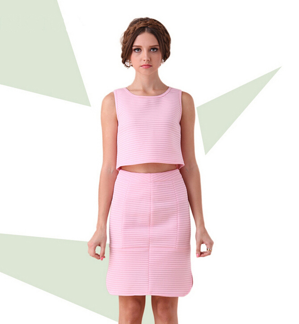 2015 Two Pieces Summer Short Dress Fashion Bare Midriff Dresses Pink