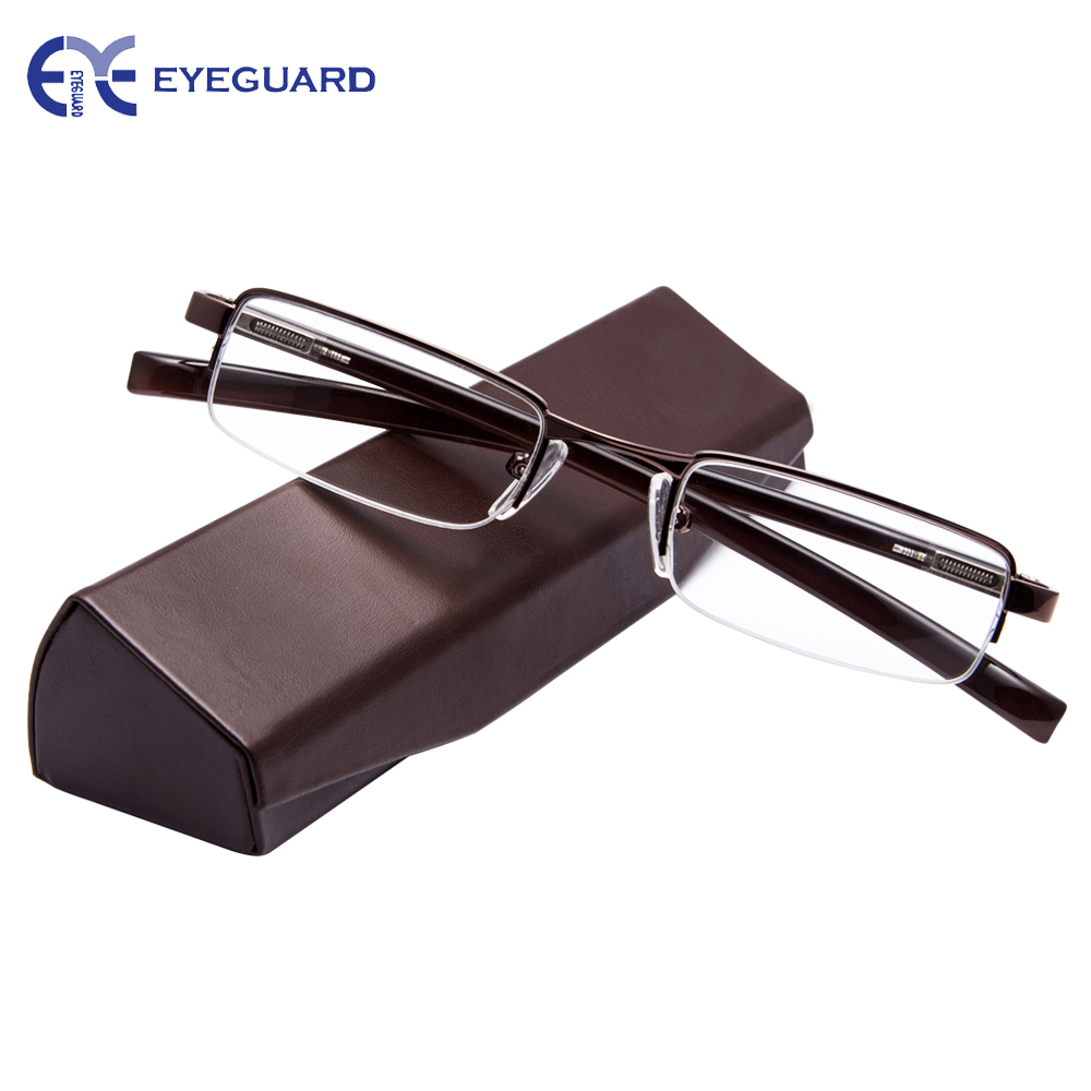 EYEGUARD Half Metal Frame Mini Size Lens Reading Glasses Readers Unisex with Hard Case Brown