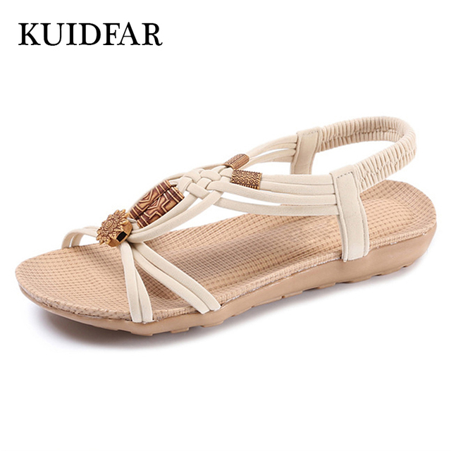 Women Sandals  Shoes Woman Summer Fashion Flip Flops Ladies Shoes Sandalias Mujer Plus Size 36-42 Black beige