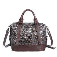 Hot Sale Women Genuine Leather Tote Bag New Cow Leather Ladies Handbag Vintage Embossed Pattern Designer