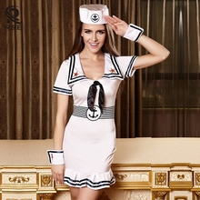 2017 New Adult Women Halloween Masquerade Export Quality White Navy Uniform Cosplay Suit Navy Sailor Role Playing Sexy Dress