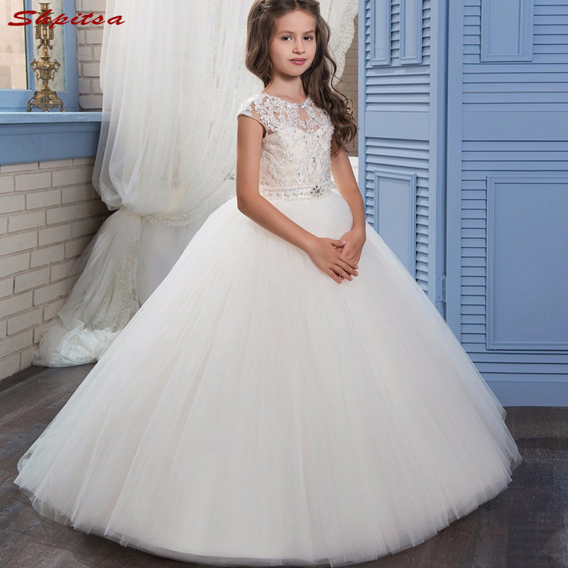 White Lace   Flower     Girl     Dresses   for Weddings Evening First Communion Pageant   Dresses   for Wedding   Girls   Kid