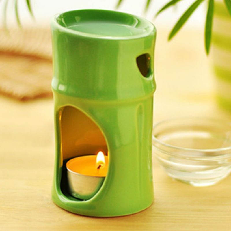 Dia 6.5*11cm Fashion Green Bamboo Design Ceramic Essential Oil Burner MINI Candle Aromatherapy Furnace Incense Base DC831