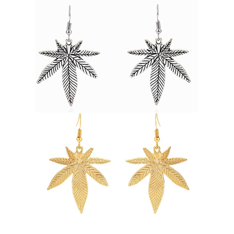 1 Pair Antique Silver/Gold Color Tone Maple Leaf/Pot Weed Leaf Charms Pendants Earring Jewellery For Women