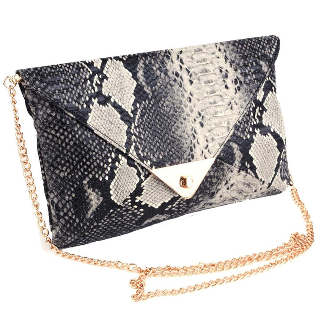 Women's Snake skin Print Accent Envelope Statement Clutch Bag per se two tone snake skin pants