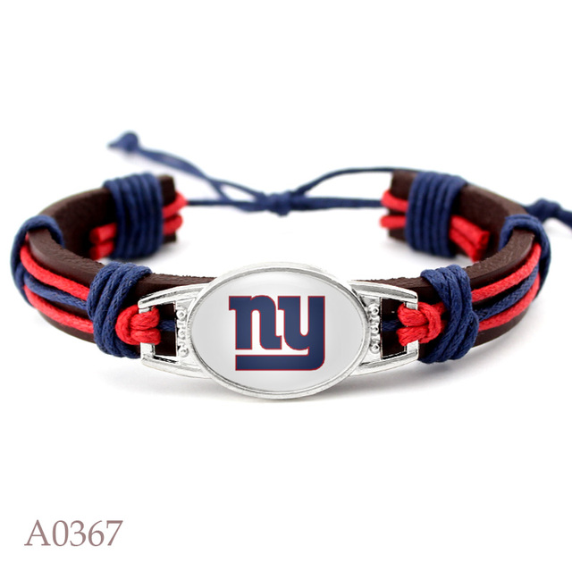 10 Pcs Real Leather Adjule Bracelet Of Ny Giants Football Team Bangle Mens