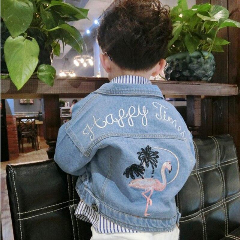 Детские Обувь для девочек Джинсовая куртка Джинсы для женщин Куртки для Обувь для мальчиков осенние детские куртки с рисунком Вышивка курт...