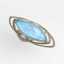 Vintage Blue Fire Opal Rings For Women Wedding Gift   Ring Anniversary Party Jewelry Anillos Mujer L5J380 kcaloe lady women green stones ring charm brand jewelry antique black rhinestone natural stone wedding anniversary rings anillos