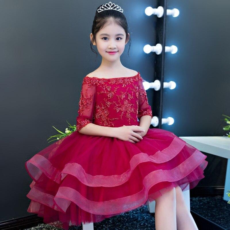 Здесь можно купить  New Children Girls Luxury Elegant Long Trailing Wedding Birthday Evening Party Dress Babies Kids Model Show Tutu Costume Dress  Детские товары