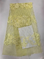 Free Shipping 5yards Pc Newest Design Pure White African Sequins Net Lace Fabric French Lace Fabric